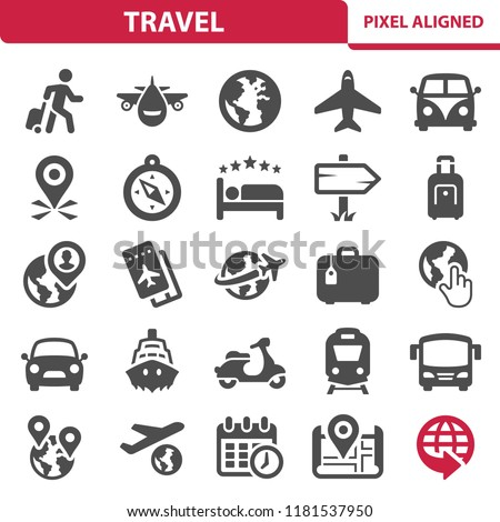 Travel Icons. Professional, pixel perfect icons, EPS 10 format.
