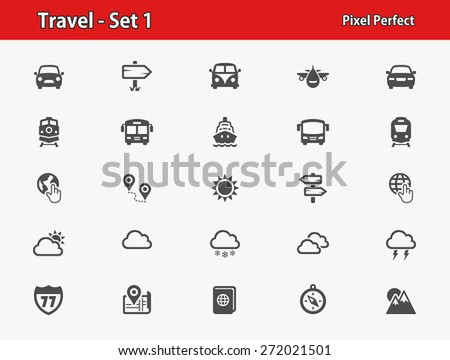 Travel Icons. Professional, pixel perfect icons optimized for both large and small resolutions. EPS 8 format.