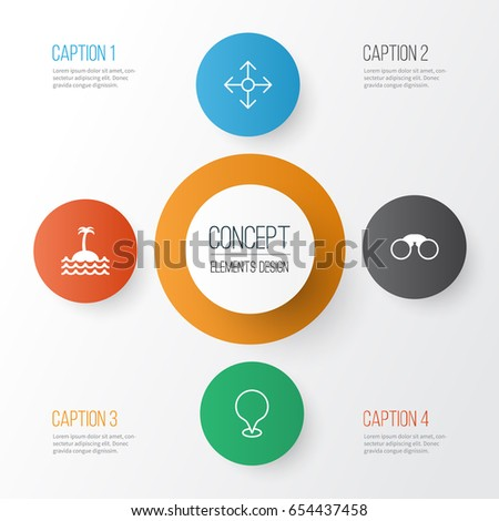 Stock Photo Travel Icons Set. Collection Of Direction Arrows, Map Pointer, Reef And Other Elements. Also Includes Symbols Such As Map, Direction, Marker.