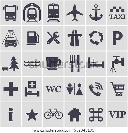 Travel icons set. Different black travel signs for design. Transport location symbol. Vector symbol.