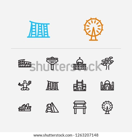 Travel icons set: las vegas, sydney, detroit and africa, japan, sydney set popular traveling cities with tradition vector icon illustration for app web mobile UI logo desing.