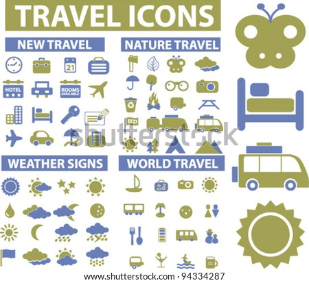 travel icons set, vector