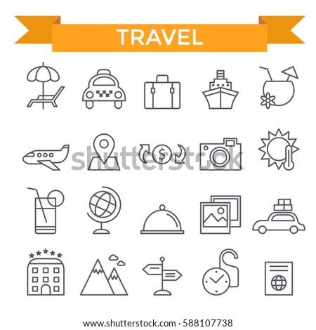 Travel icons, thin line, flat design