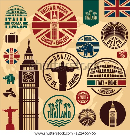 travel icons travel stickers