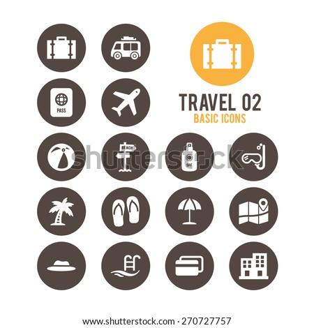 Travel icons. Vector illustration.