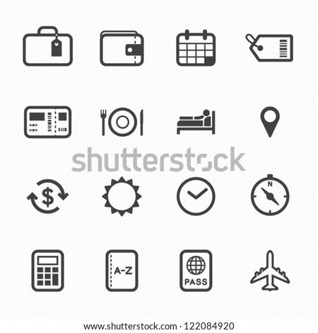 Travel Icons with White Background