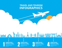 Travel infographics, landmark and transport