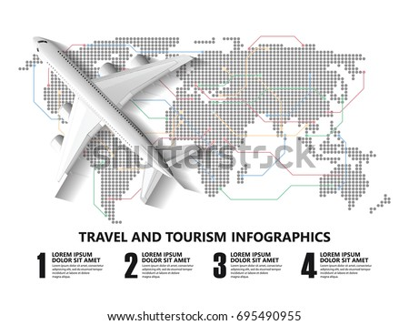 Travel infographics ,landmark and transport (travel, infographic, flight)