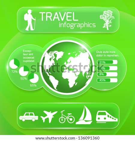 Travel infographics web design. Modern glass template on green background. Vector illustration.