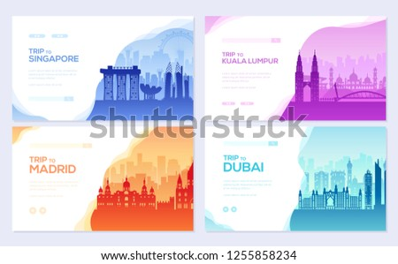 Travel information brochure card set. Landscape ñountry Singapore, Kuala Lumpur, Madrid, Dubai of template of flyear, web banner, ui header, enter site. Layout invintation modern