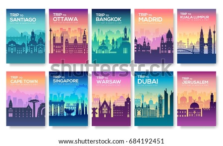 Travel information cards. Landscape template of flyear, magazines, posters, book cover, banners. Country of Chile, Canada, Thailand, Spain, Malaysia, Africa, Asia, Poland, UAE and Jerusalem set