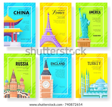 travel information cards set