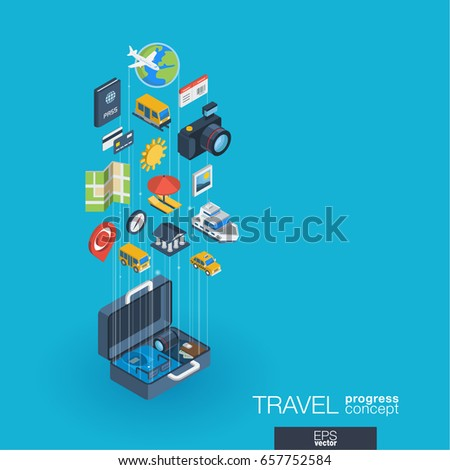 Travel integrated 3d web icons. Digital network isometric progress concept. Connected graphic design line growth system. Background whith tour map, hotel booking, flight ticket. Vector Infograph