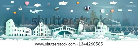 Travel Italy famous landmarks Europe downtown by gondola, balloon, train, Travel cityscape ancient architecture to Rome, Venice  with origami paper cut for landmark poster and postcard,Vector illustration