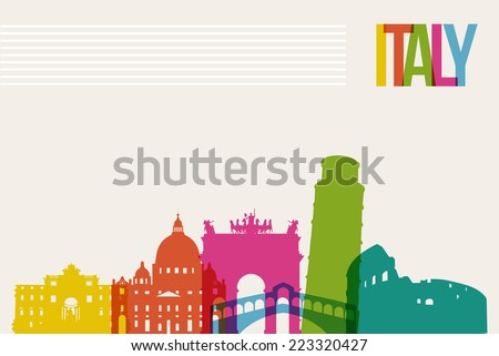 Travel Italy famous landmarks skyline multicolored design background Transparency vector organized in layers for easy create your own website brochure or marketing campaign