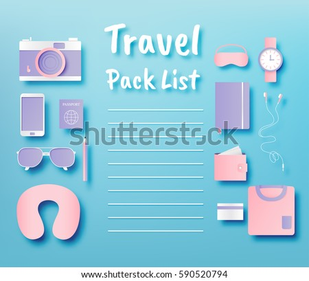 Travel items packing list paper art style vector illustration set