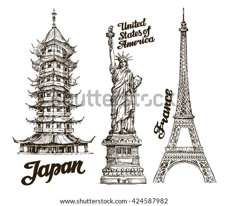 Hand Drawn Sketch Japan USA France Famous Buildings Of