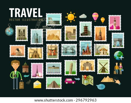 Travel, journey. Icons set. Postage stamps depicting historical architecture in the world. Vector illustration