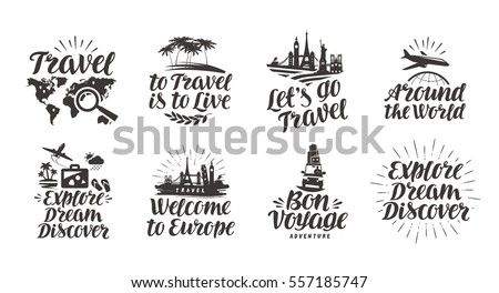 Travel, journey set icons. Handwritten lettering. Label vector illustration