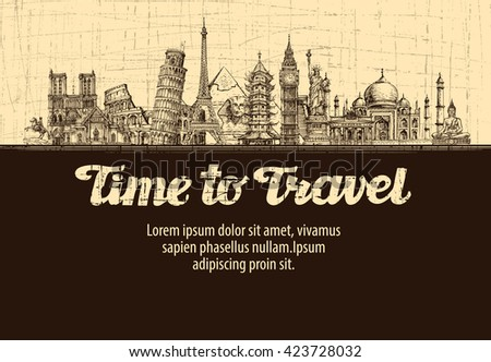 Shutterstock travel, journey. vector hand drawn sketches monuments of the world