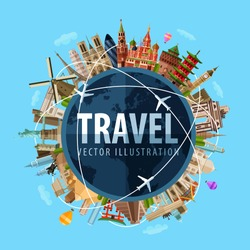 travel, journey vector logo design template. world map or rest icon.