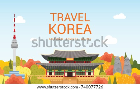 travel korea template vector