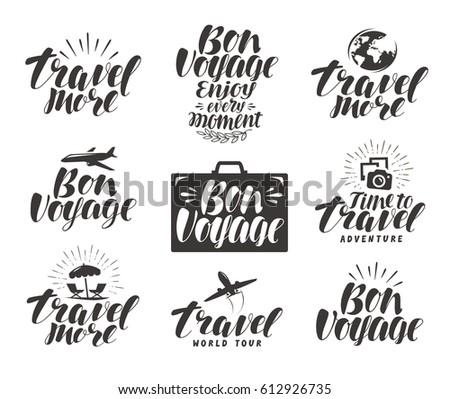 Travel, label set. Journey icons or symbols. Lettering vector illustration