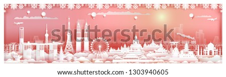 Travel landmarks Asia architecture in capital city with train and modern building, Traveling skyline cityscape and ancient, Asean landmark tour, Paper cut and paper origami style, Vector illustration.