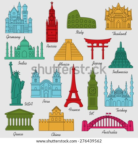 travel landmarks colorful