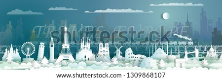 Travel landmarks of Europe with train, Traveling skyline the world, Famous architecture panorama landmark cityscape, Popular capital, Origami paper cut style for postcard, poster,Vector illustration.