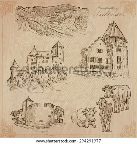 Travel Liechtenstein Collection Of An Hand Drawn Vector