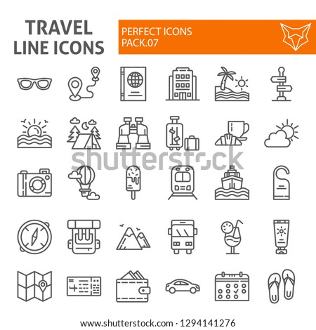 Travel line icon set, tourism symbols collection, vector sketches, logo illustrations, holiday signs linear pictograms package isolated on white background, eps 10.