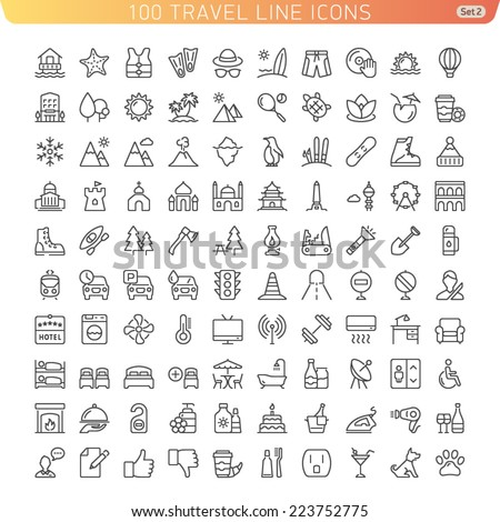 Travel Line Icons for Web and Mobile. Beach, Mountains and Hotel. Light version.
