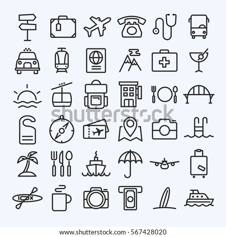 Travel line icons set