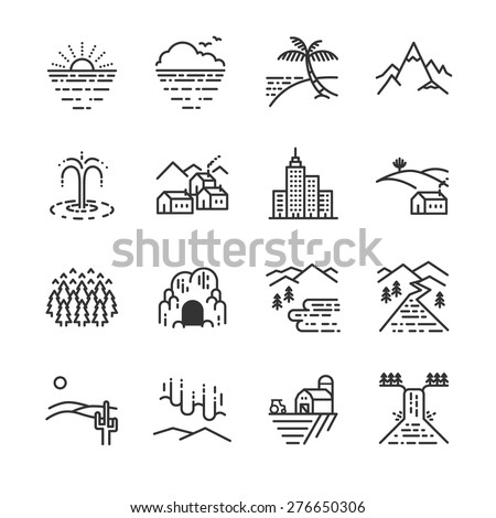 travel locations line icon set