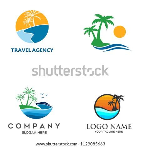 travel logo  beach vector