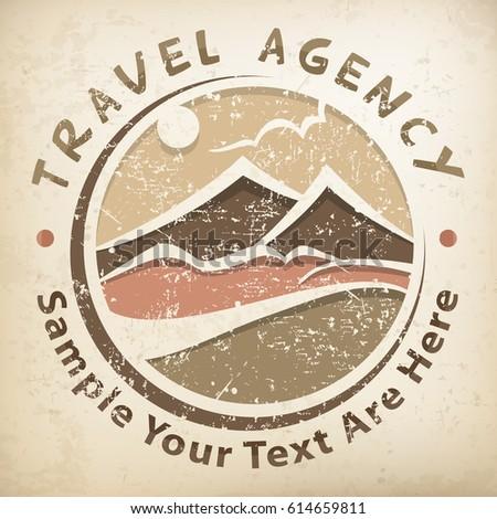 travel logo  grunge round...