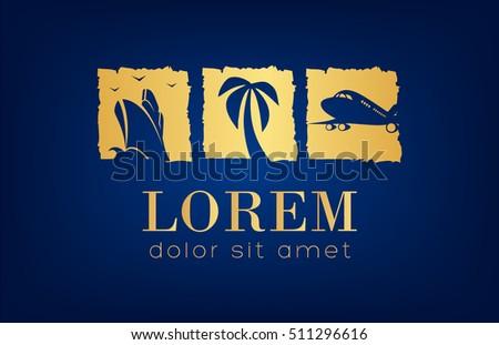 travel logo ship  palm tree