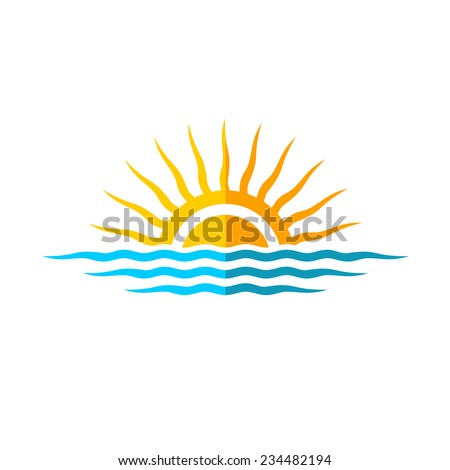 travel logo template sun with