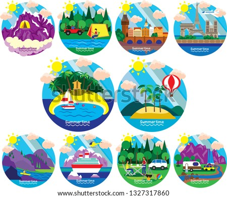 Travel logo vector 10 set.