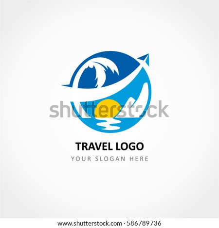 travel logo with the aircraft
