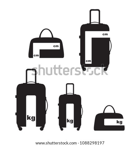 Travel Luggage and Baggage Information Allowance Size and weight Sign Symbol Vector and Icon