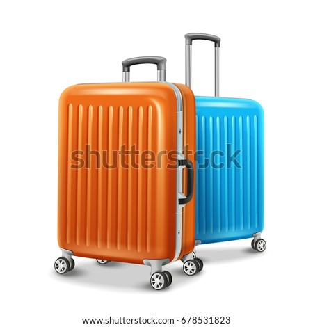 Travel luggage elements, two travel essentials in orange and blue in 3d illustration