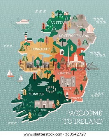 travel map of ireland with