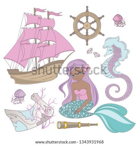 TRAVEL MERMAID Girl Princess Cartoon Sea Ocean Summer Tropical Cruise Vacation Vector Illustration Set Print Fabric Decoration