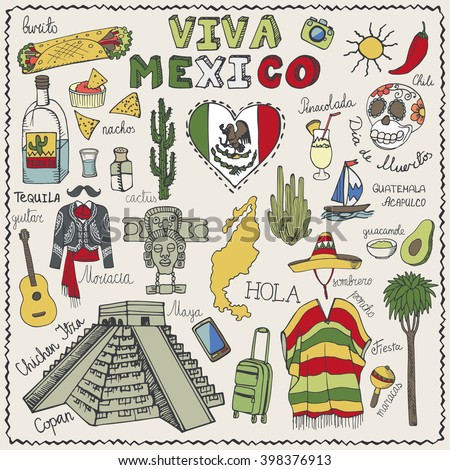 Travel Mexico Doodle Symbolselementsctor Hand Drawn Sketchy