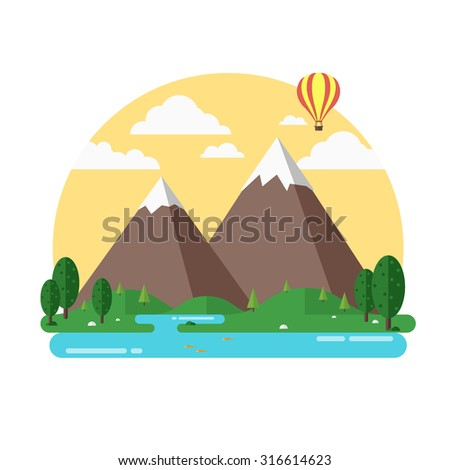 Travel mountains island landscape and sailing color flat vector icon nature weather concept template. Flat landscapes collection
