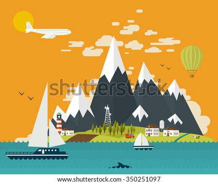 Travel mountains island landscape and sailing color flat vector icon nature weather concept template. Stylish trendy outdoor tourism rest vacation boat yacht balloon hiking. Vector illustration.
