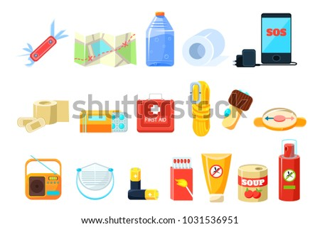 Travel necessities sett, first aid kit, rope, compass, map, phone, bottle of water, battery, radio, box of matches, repellent, canned food vector Illustrations on a white background Сток-фото ©