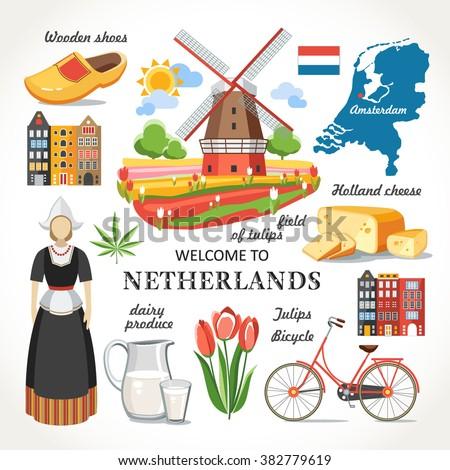 travel netherlands vector set